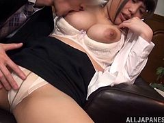 Busty Japanese office girl gets fondled and fucked