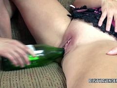 Kinky lesbian moms Lavender Rayne and Liisa are doing something different for today. They are tired of using their tongues and dildo, why use a bottle instead?