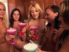 These American college girls have way too much to drink when they attend parties, so they usually initiate orgies. Other colleagues watch them perform or join in.