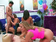 This horny Samantha Saint planning to celebrate her birthday by having a sex party together with her hot friends. Two lucky guys got hired to fuck these horny cumswapping chicks.