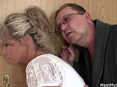 Checkout this old couple. They hear voices of their son fucking his hot blonde girlfriend. Watch how this old couple trick this hot blonde chick in having a threesome fuck. Enjoy!