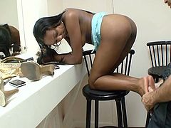 Hot ebony slut get her foot licked by white dude and then get her pussy fucked hard.