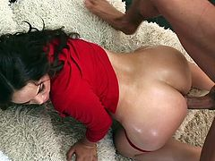 Curvy Latina pornstar in high heels with long hair ecstatic as her nice ass is oiled then gives a blowjob before getting nailed hardcore doggystyle