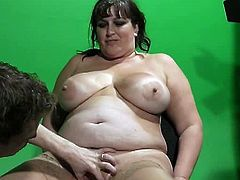 It was supposed to be a mainstream casting for a local TV show but the horny guy have something naughty in mind as she holds this fat chick massive tits and goes all the way.