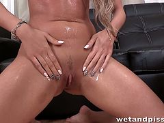 Wet and Pissy brings you a hell of a free porn video where you can see how this hot blonde poses and pisses herself before getting nasty while assuming very hot positions.