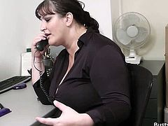 Nicoletta wanted that job at that call centre so badly. She was wearing her sexiest outfit to the interview just to improve her chances. The guy showed her how stuff worked and said they got a special bonus for girls with special big tits. She wanted that bonus so she had to reveal her lovely melons to the sly dude. Looks like she was eligible! The guy started playing with her mounds and soon was slamming his dick into Nicoletta's very tight and very wet pussy. The tits got her that bonus - and they also got a whole cum load onto them!