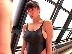 This sexy Japanese lady is so turned on by her swimming instructor and, when his hands are on her in the water, her pussy starts to drip. They kiss passionately and he grabs her booty underwater.