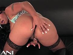 Mariah Milano is a naughty and provocative brunette belle ready to finger her pussy into ecstasy while wearing sexy fishnet stockings.
