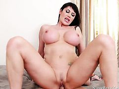 Eva Karera with big breasts and shaved cunt gets some in steamy sex action with Seth Gamble