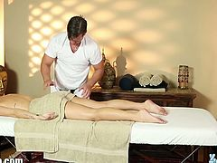 Karlie Montana got horny at the massage of her masseuse and willing to give him a blowjob for his efforts as he suck it deep making him cum on her lovely mouth.