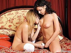 Penelope with bald pussy has some time to get some pleasure with lesbian Natasha Von