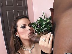 Bailey Brooks squeezes the cum out of Tyler Knights love wand with her lips while giving suck job