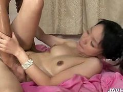 This chick suddenly got teamed up by her two fuck buddies and nothing gets better as she gave blowjob to another one while other drilling her into her hairy pussy accepting all his load.