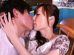 Kaede Fuyutsuki has fire in her eyes as she milks cum loaded cock of her stud