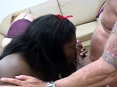 Three horny fat cocksuckers share a hard cock to blow.