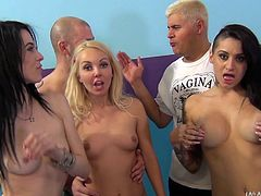 These two dark haired sluts and one blonde love to get nasty and try new things. One of the babes sits on one of the guy's faces, while another girl shows, that she can give a fucking great blowjob. One slut rides cock and another dirty whore takes it hard from behind in her cunt hole.