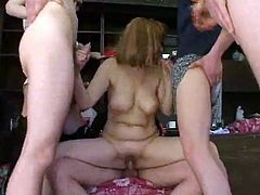 Russsian mature and five boys