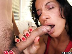 Melissa Monet gets her mouth attacked by guys meaty rock solid rod