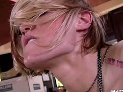 Young carrier, delivers Ash two screaming orgasms on the kitchen table. In this free HD porn video