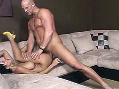 Marvelous brunette with big tits giving big cock blowjob before moaning while her shaved pussy is being penetrated hardcore from all directions
