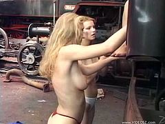 Wild lesbian babes using some crazy toys out in public