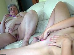 Nice girl and fat granny masturbating together, two guy come to help
