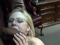 Prurient blonde babe in glasses with natural tits and a hot ass giving a salacious POV blowjob before giving a smutty hand job