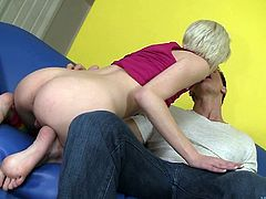 Kelly Klass licks his ass then gets her pussy fucked