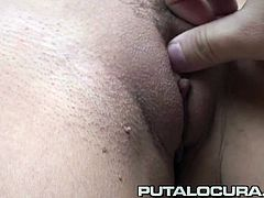 This beautiful Latina babe with awesome huge tits is horny for cock and takes it like a pro!