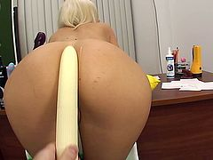 A young blonde chic gets her toys plunged into her asshole before her partner provides his cock for her to work on, after which he provides her with a faceful of hand pumped cum.