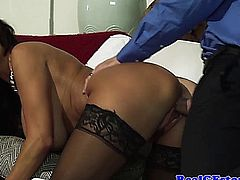 Cheating wife doing doggystyle with two differant dudes in her sexy stockings