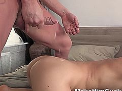 How dumb is this unfaithful guy leaving an iPad with explicit pics of him fucking some slutty chick in a bedroom? Of course his curious girlfriend finds out about his sex adventures and her kinky revenge follows immediately. She has him duct taped in bed and makes the bastard watch her fuck another guy right in front of him. This cuckold can moan all he wants now watching his honey have fun and get a great orgasm. He totally deserved it!