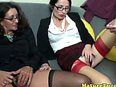 Bigtit spex milfs enjoy tugging cock together while teasing their own pussies
