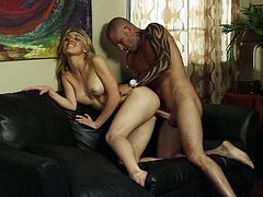 Gorgeous blonde pornstar in army uniform and short giving a terrific blowjob then yells as she gets licked before being throbbed hardcore