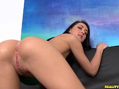 Adorable brunette in thong getting her tight anal fingered in close up shoot