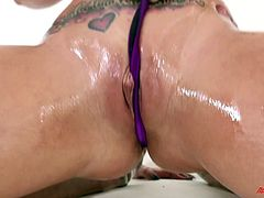 Appreciative blonde with oiled medium ass yelling while her anal is banged doggystyle