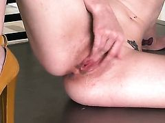 Elle Alexandra with tiny tities and hairless twat exposes her naughty parts before she masturbates