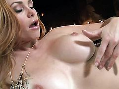 Heather Vandeven with hairless snatch has a great time masturbating her honeypot