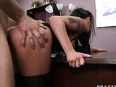 Mick Blue uses his rock hard cock to make blowjob addict Jenaveve Jolie with huge jugs happy