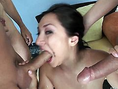 Roxy Jezel enjoys guys pole in her mouth in steamy oral action