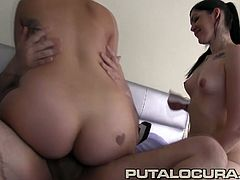 Horny Latina Teens likes it hard and deep! They suck and ride their tight pussy and big natural round tits on Torbe´s cock and can´t stop!!