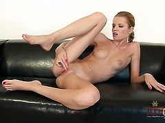 Blonde Angel Hott shows her love for stripping on cam