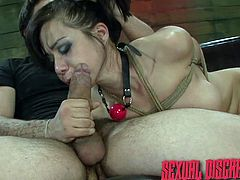 Sexy Asian slave Kimmy is tied up tightly with rope and her master shoves his big cock down her throat. The slave girl takes as much as she can handle before her her rope restraints tightened and her neck choked. Then she gags on his cock some more.