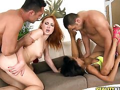 Redhead darky Renato gets the hole between her legs eaten by her lesbian girlfriend Alyssa Divine