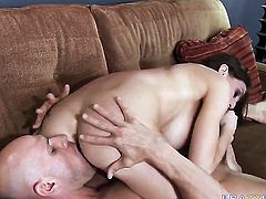 Eve Laurence with giant hooters does her best to make horny guy Johnny Sins cum after mouth job