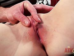 Brunette oriental with tiny tits and smooth twat takes massive money shot on her pretty face