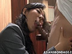 If you like watching Asian sluts and also, are fond of bdsm activities, why not enjoy both in the same package? A helpless babe has been a slave for her boss, whose cock she's got to suck. See the bitchy lady tied up in a strong rope bondage. Relax, there are kinky scenes with clear images of her nice buttocks!