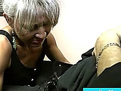 Horny granny eagerly dick gagging and wanking in office