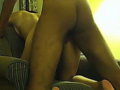 Girl cheats on her boyfriend and has sex with her black lover in a hotelroom. She sucks his dick hard and then mounts her unprotected pussy on top. She also gets fucked from behind.