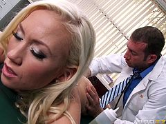 Horny Madison took time, to get to the massage parlor. The blonde babe is wearing a pair of white lace sexy panties. Her facial expression explains, how good she feels, when the dirty masseur pours oil all over her hot body. See the busty slut with wonderful buttocks getting excited, when her pussy's fingered!